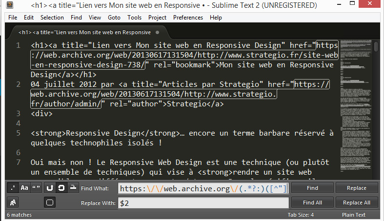 Regex avec Sublime Text
